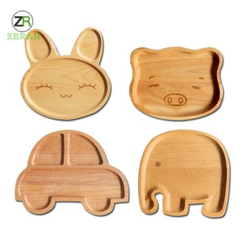 Zeran Wholesale Cheap Fancy Custom Cartoon Bamboo Children Wooden serving <strong>Plate</strong>