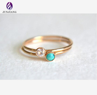 fancy gold ring designs tiny natural Turquoise Rings set of two