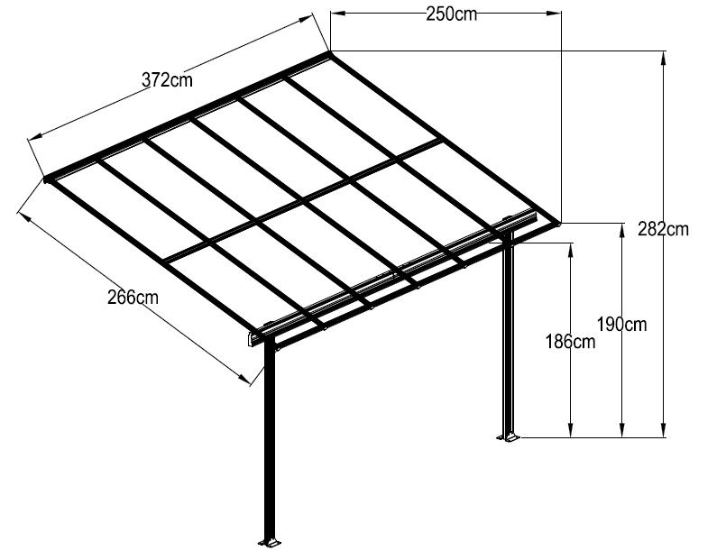De aluminio al aire libre jard n p rgola mirador - Perfiles aluminio para pergolas ...
