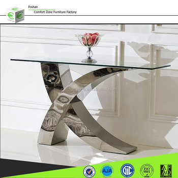 X01 Italian design glass modern console table with mirror View