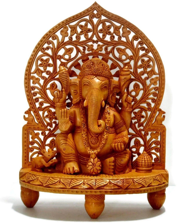 Large 1 Feet Ganesh Ganesha Idol Statue Wooden Hand Carved Elephant Lord Ganesha Ganpati Temple