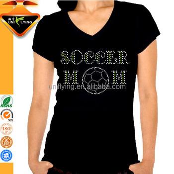 3a08cfef6a7 Fashion Women Custom Basketball Mom Hot Fix Rhinestone Design t shirt  wholesale