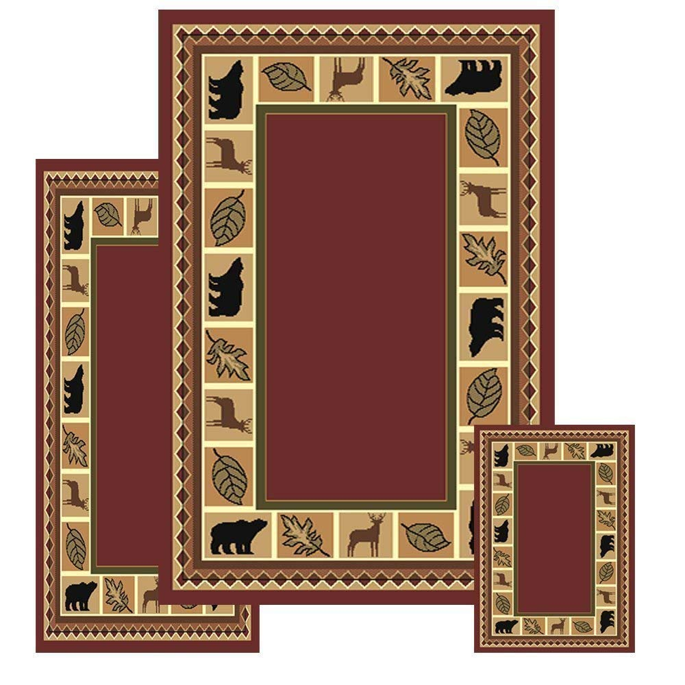 "MAYAHOMEWARE 3 Piece Wildlife Lodge Cabin (Burgundy Bear Moose Rug Set) 5'x7'5"", 2'x3', 2'x6' Area Rug - 631"