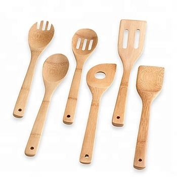 Custom logo vintage reusable fsc eco-friendly handmade organic real bamboo wood kitchen cooking slotted utensils set