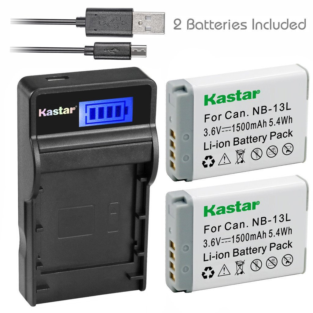 Kastar Battery (X2) & SLIM LCD Charger for Canon NB-13L, NB13L and Canon PowerShot G5 X, Canon PowerShot G7 X, Canon PowerShot G9 X Digital Camera