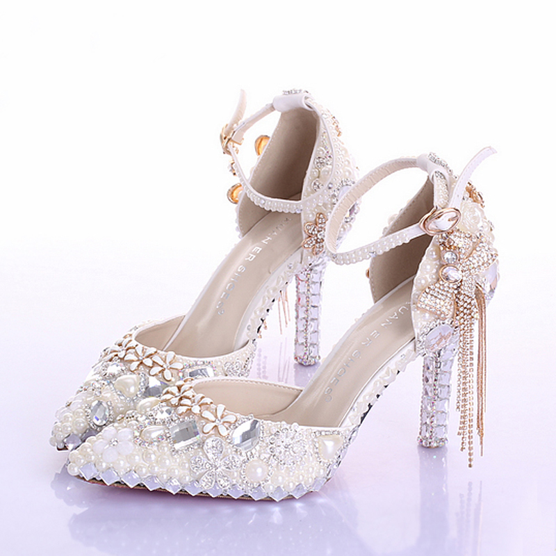 Pointed Toe Ankle Strap Boots Bridal Shoes Ivory Pearl Wedding Party Dress Shoes Rhinestone Pumps for Wedding Events Prom Shoes