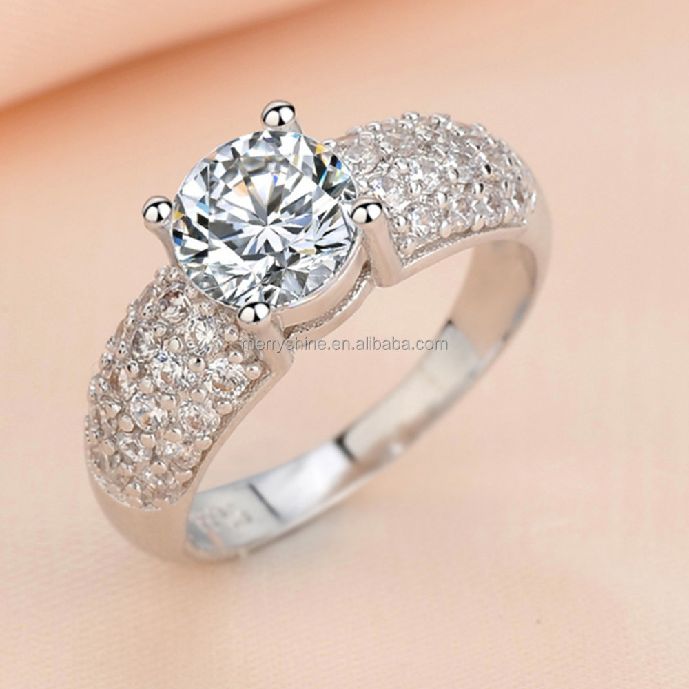 Eudora Wholesale Rhodium Plated White Copper Diamond Ring CZ Stone for Wedding, Engagement Occasion R44