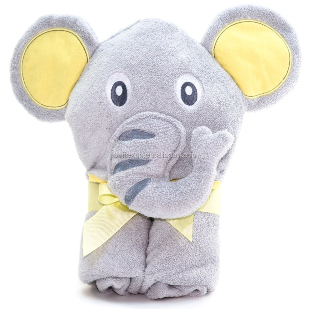 Small quantity wholesale popular hooded baby towel cotton elephant