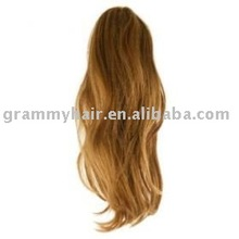 100% drawstring remy ponytail fringes extension