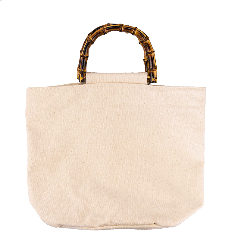 China Supplier oem original custom eco friendly breathable recycled canvas tote bag with bamboo handle