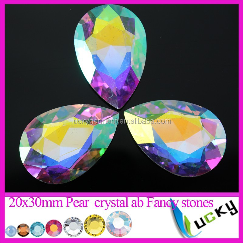 30x40mm Largest Pear shape Crystal ab color Fancy stones pointback Rhinestones
