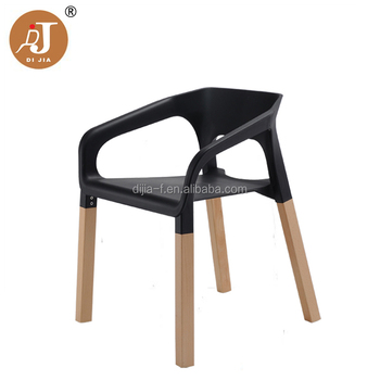 Modern Restaurant Chairs Dining Plastic Stacking Chair With Wood Legs