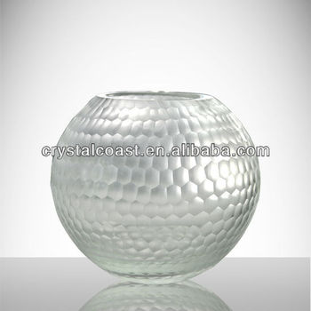 Hand Cut Round Mother Pearl Vase Clear Decorative Mosaic Flower