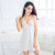 HSZ 8804 Summer high quality lace straps nightdress hollowed out back satin pajamas