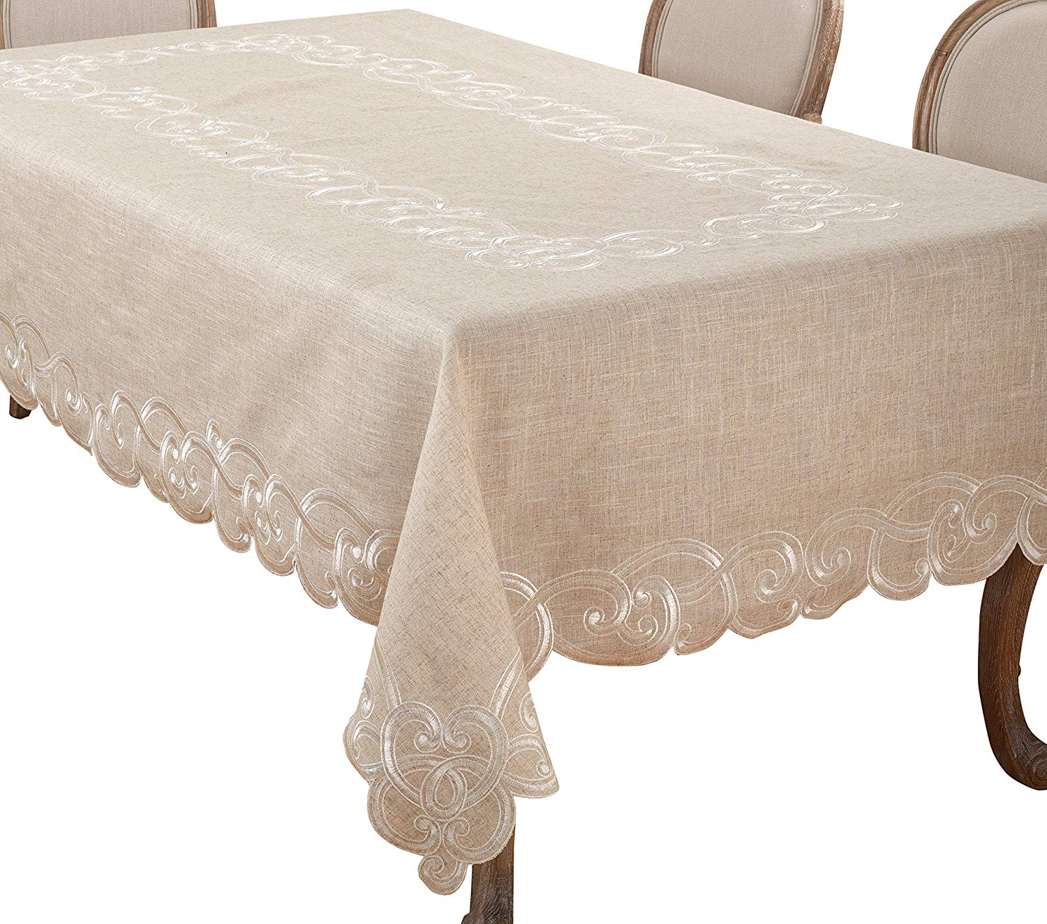 """SARO LIFESTYLE Embroidered Scallop Design Linen Blend Tablecloth, 67"""" x 104"""", Natural"""