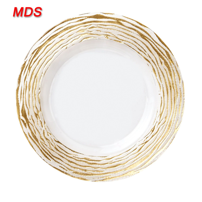Glass gold stripe salad plate charger wholesale