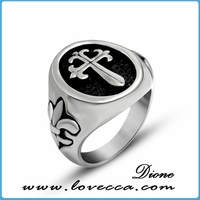 High Polished fashion stainless steel ring with stone setting