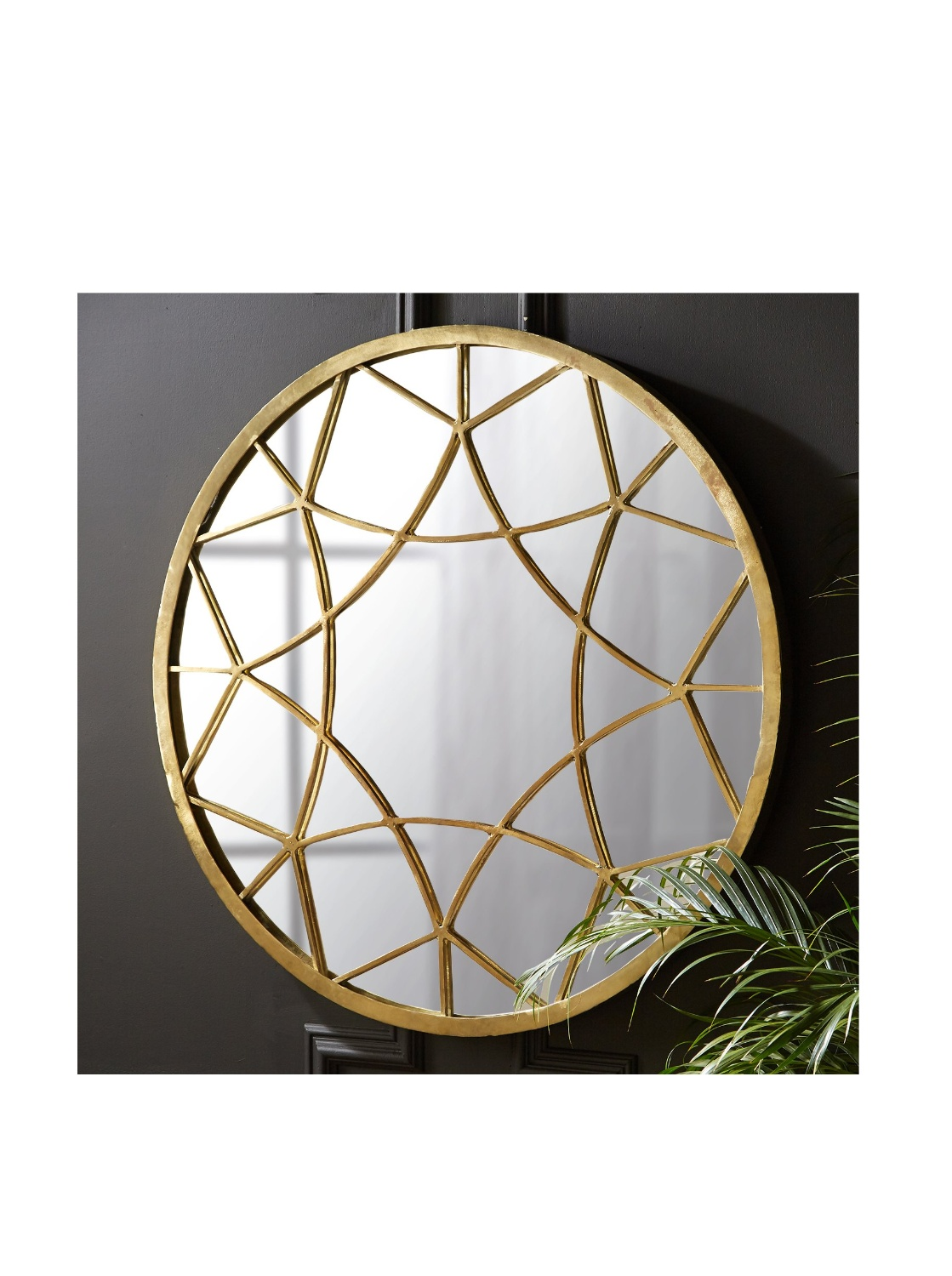 Tozai Kaleidoscope Round Wall Mirror with Brass Cladding