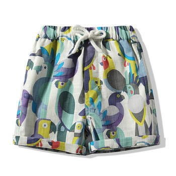 2019 Superior quality elastic cotton beach style birds print baby boy cool summer shorts