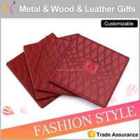 Case grain Design coaster square red cup coaster Genuine Leather beer coaster