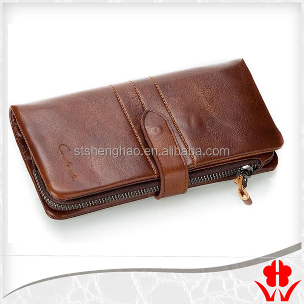 Brown best leather long men's <strong>wallet</strong> with coin pocket