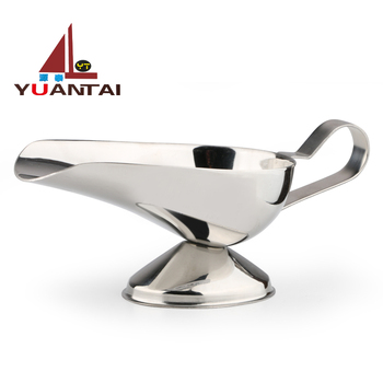 Hotel hot sell lamp shaped stainless steel sauce boat and gravy boat for restaurant