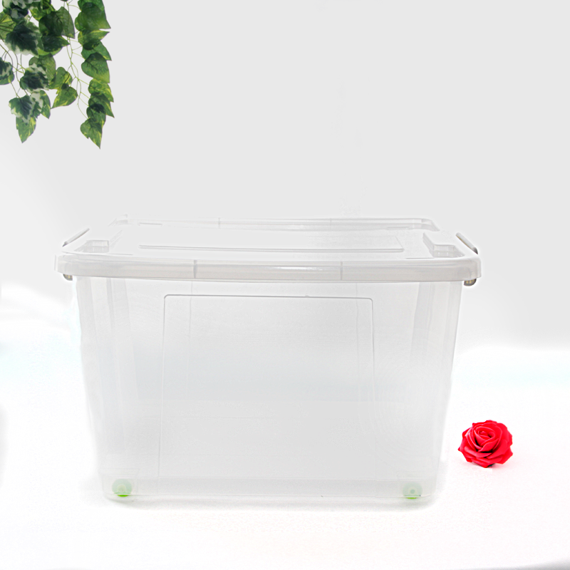top sale 58l transparent square plastic box basketball large plastic containers clear storage bins with