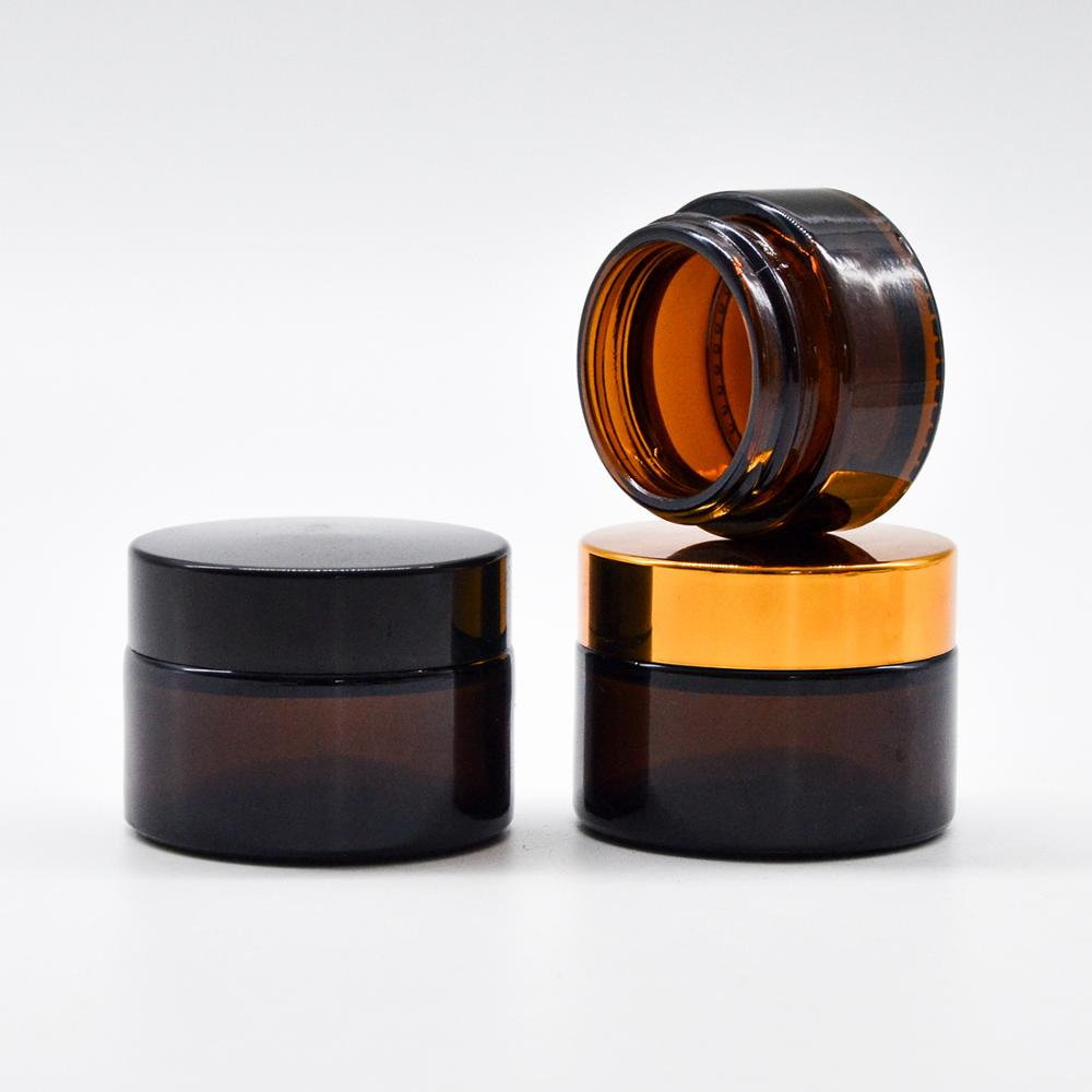High quality Face Cream cosmetics container Straight Sided Thick Wall 5g 10g 15g 30g 50g 100g Amber glass cream Jars