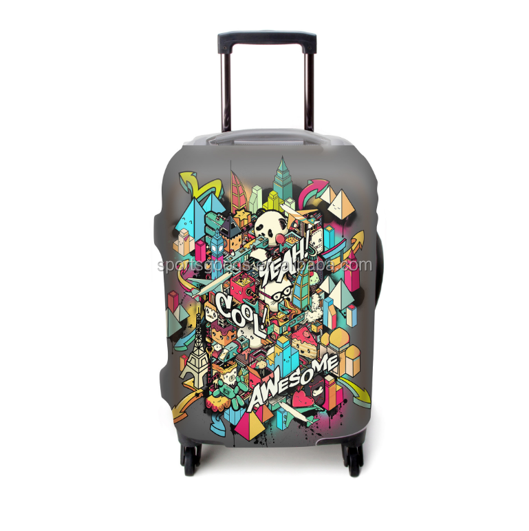 2017 hot selling customized printed luggage protecter suitcase cover high elasticity spandex