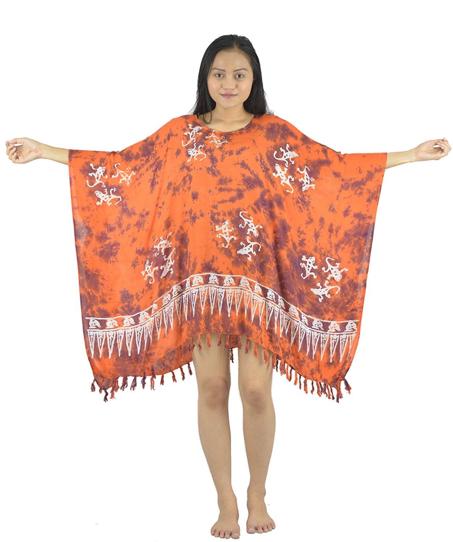 557d852aca1 Get Quotations · Lifestyle Batik Natural Motif Monocolored Batik Plus Size  Tunic Poncho Caftan Top 37 (4X