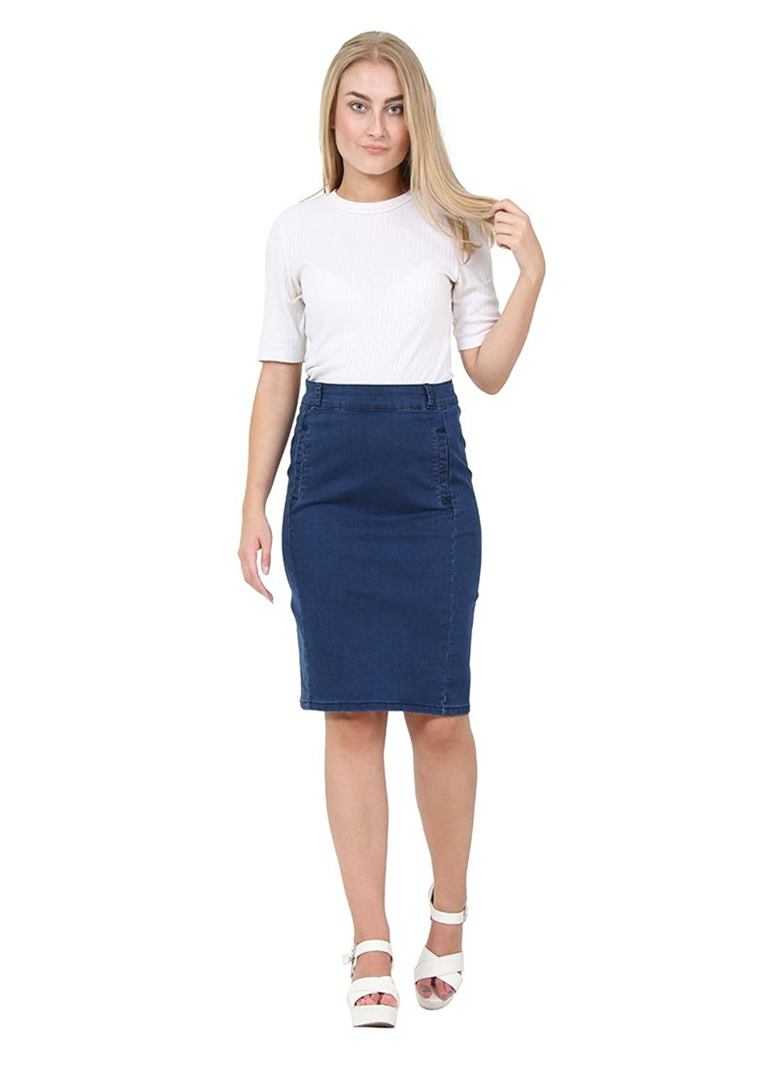 3a3d8e6a3 Get Quotations · Cindy H Knee-length Darkwash Denim Skirt Pencil skirt  Denim Midi Skirt
