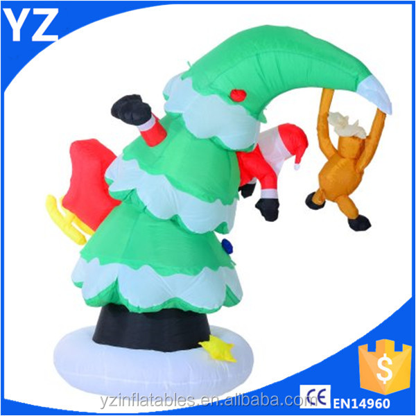 Inflatable LED Lit Santa Claus Stuck in Christmas Tree Lawn Yard Decoration