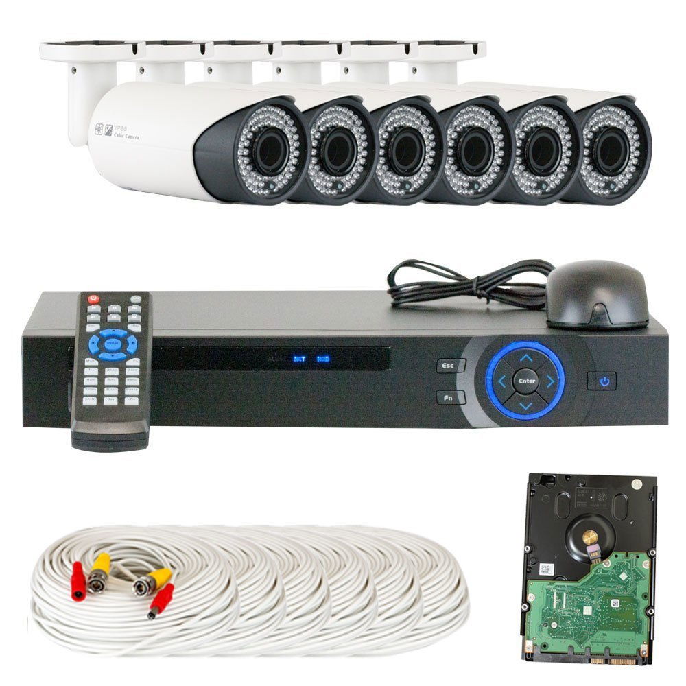 High End 8 Channel HD-CVI DVR Security Camera System with 6 x 1/2.9 HDCVI Color IR CCTV 720P Security Camera, 1.0Mega pixel Color CMOS, 2.8-12mm Manual Focus Lens, 200 feet IR distance. 1080p real time preview, 720P realtime recording.