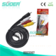 Suoer Factory Price rca cable 1.5m AV cable 3.5mm video audio cable for hd tv