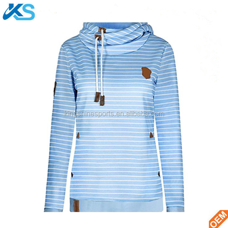 2017 Brand Sales Pullover 60% Cotton 40% Polyester blend Jersey Brush Fleece Yarn Dyed Stripe Turtle Neck Hood Women Sweatshirt