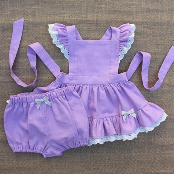 58cba778d4 cute baby vintage pinafore style dress girls dress in lilac linen with  ivory lace ruffles