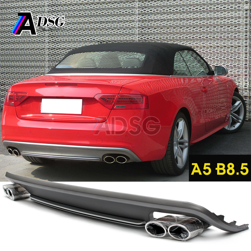 A5 Coupe S5 style PP Rear diffuser with exhaust tips for Audi A5 B8.5 2 Door 2013 - 2016