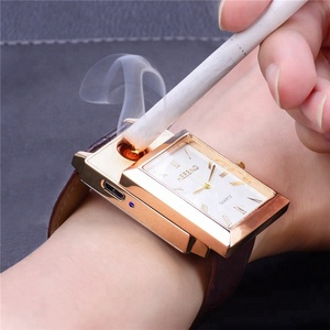 Flameless USB Lighter Watches Casual relogio masculino Rechargeable Cigarette Lighter Men's Quartz Wristwatches 00
