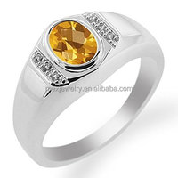 Round Citrine Yellow Sapphire 925 Sterling Silver Ring For Men