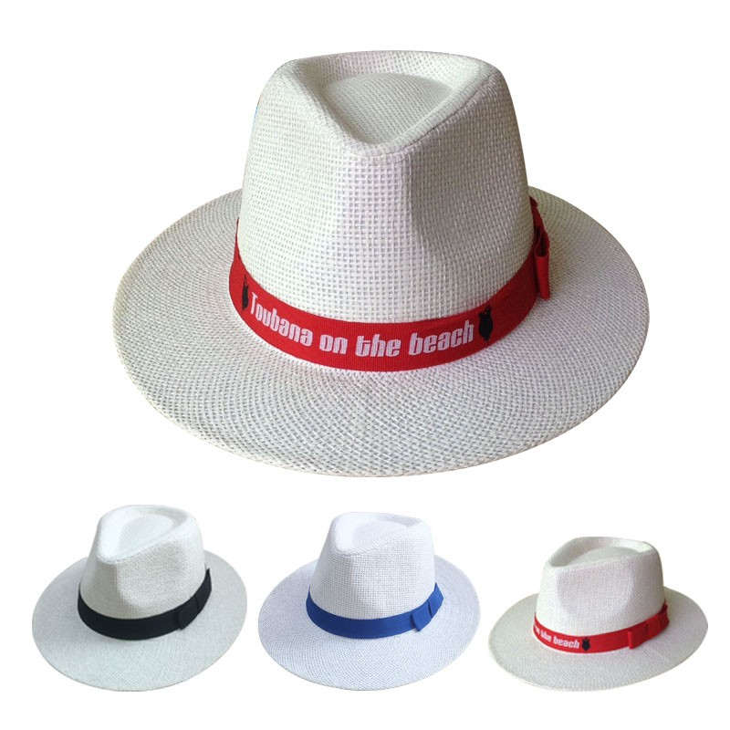 Popular Printted Logo Straw Hats Wholesale