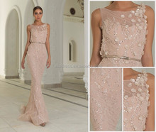 EV113 Custom made pink Arabic Style lace bodycon dress Evening Gown women corset Evening Dress for seniors