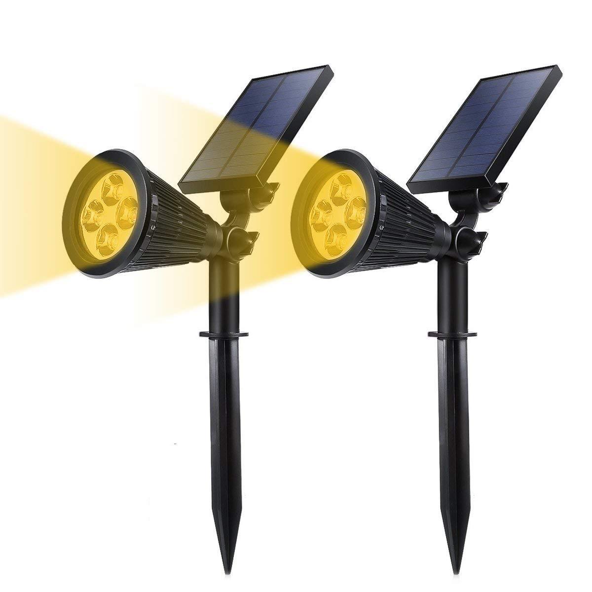 GreenPro Solar Powered LED Garden Spotlight, ProGreen 2-in-1 Waterproof 4 LED Solar Spotlight Adjustable Landscape Solar Lighting Wall Light for Outdoor Garden Decorations (2 Pack, 3000K Warm White)