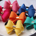 15pcs lot TOP SALE Style High Quality Fabric Rose Bowknot With Metal Charm Girls Hair Bands