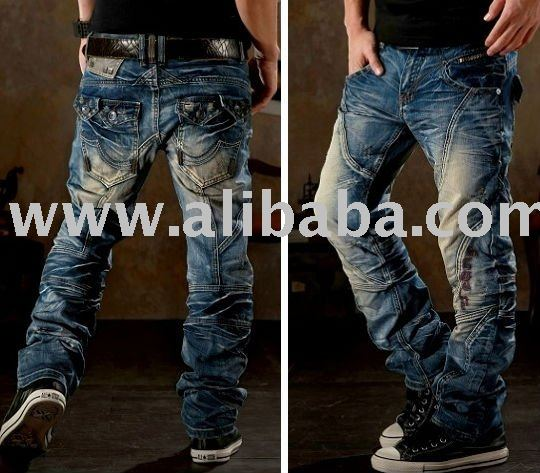 Mens Cool Designer Cutting Pocket Wash Blue Jeans #091 - Buy Jeans ...