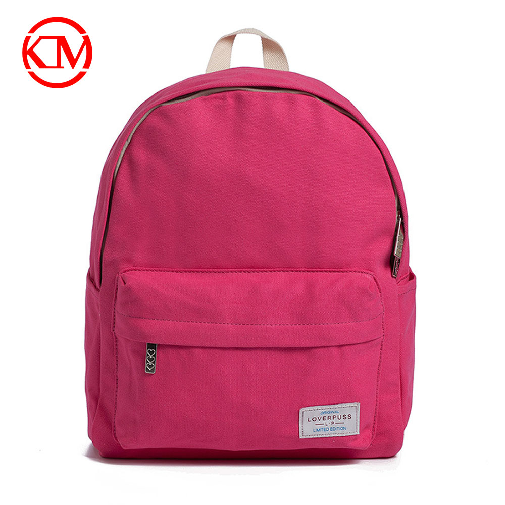 2017 NEW Simple pure Pink color natural canvas school <strong>backpack</strong>