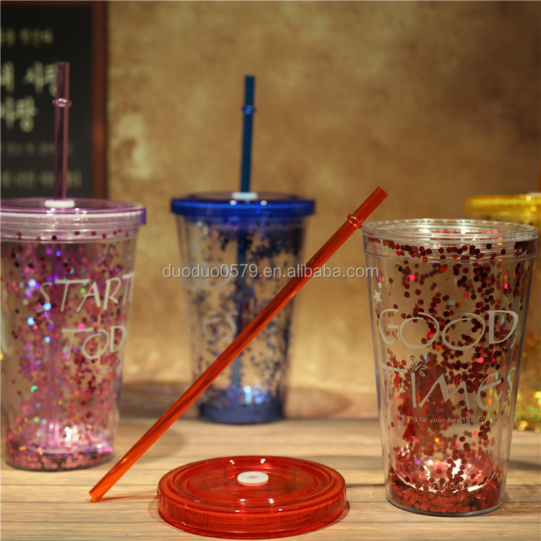 Bb013 Personalize Glitter Plastic Tumbler With Straw Acrylic Product On