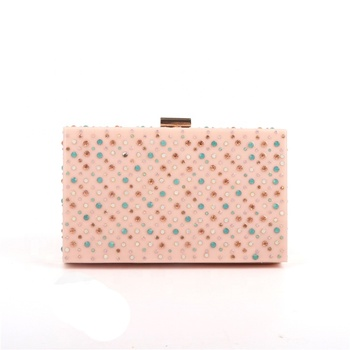Wholesale Custom Square Acrylic Crystal Elegant Women Ladies Pink Clutch Bag For Evening Wedding