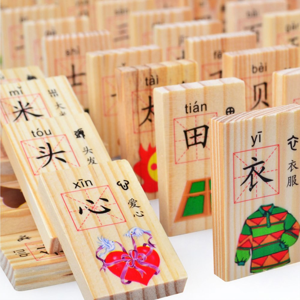 XDOBO New Chinese Characters Domino Children's Educational Product Smooth Surface and Rounded Corners Wooden Toys for Chinese Learning 100pcs