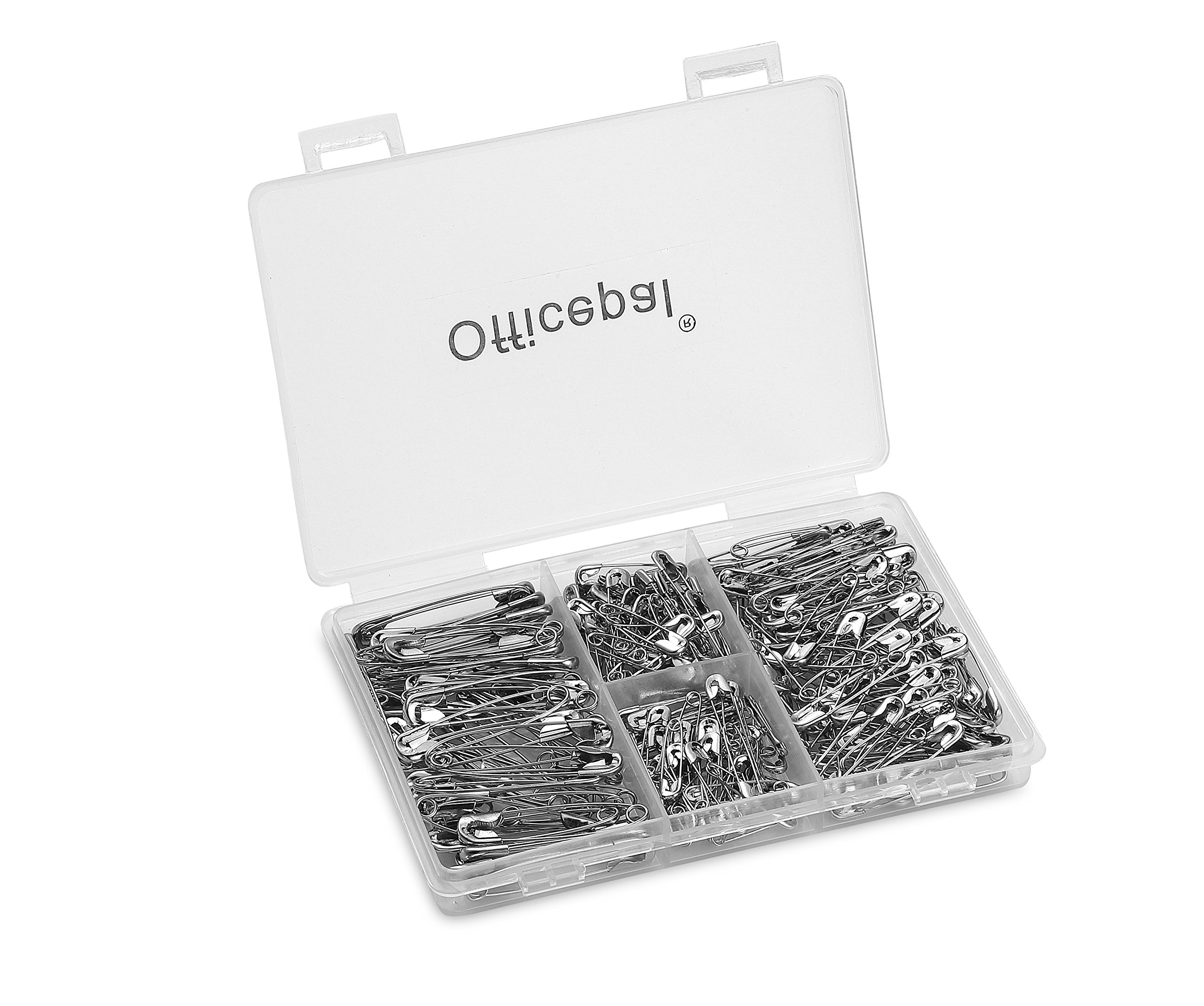Officepal Premium Quality 4-Size Pack Of Safety Pins- Top 250-Count – Durable, Rust-Resistant Nickel Plated Steel Set- Best Sewing Accessories Kit For Baby Clothing, Crafts & Arts (More Large Pins)