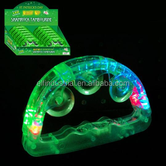 Wholesale glow in the dark light up toys kids battery St.Patrick Led Mini tambourine
